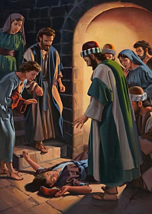 "Above the sound of mourning and lamentation the apostle's voice was heard, saying, ""Trouble not yourselves; for his life is in him."""