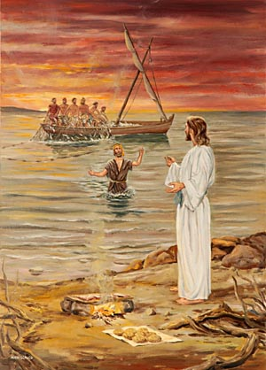 Peter was so elated and so glad that in his eagerness he cast himself into the water and was soon standing by the side of his Master.