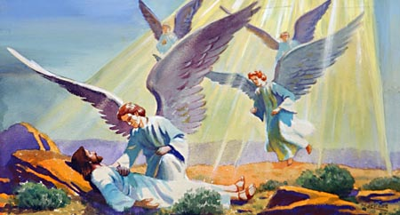 And, behold, angels came and ministered unto him.