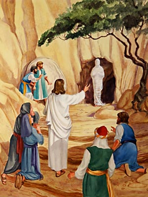 At the sound of Christ's command, Lazarus stood in the door of the tomb.