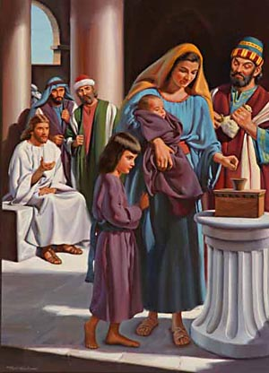 "Jesus said of the poor widow, She ""hath cast in more than they all."""