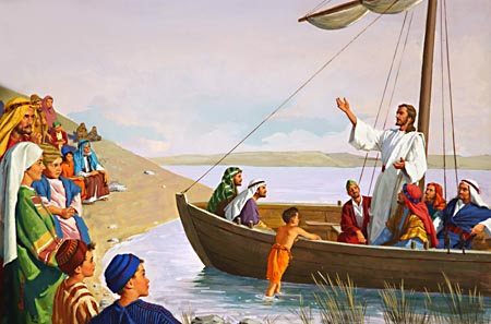 Sometimes He taught the disciples as they sat together on the mountainside, sometimes beside the sea, or from the fisherman's boat, sometimes as they walked by the way.