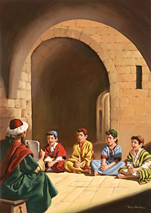 In both the school and the home much of the teaching was oral; but the youth also learned to read the Hebrew writings, and the parchment rolls of the Old Testament Scriptures were open to their study.