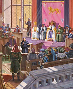 Martin Luther appeared before a crowded assembly at the Diet in Worms, Germany.