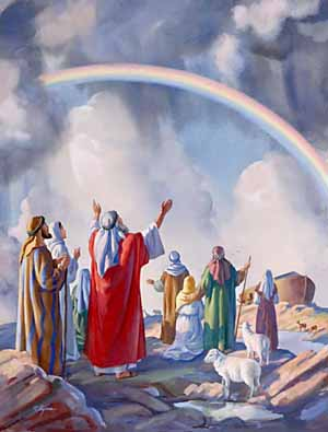 'I will establish My covenant with you; . . . neither shall there any more be a flood to destroy the earth. . . . I do set My bow in the cloud, and it shall be for a token of a covenant between Me and the earth.'